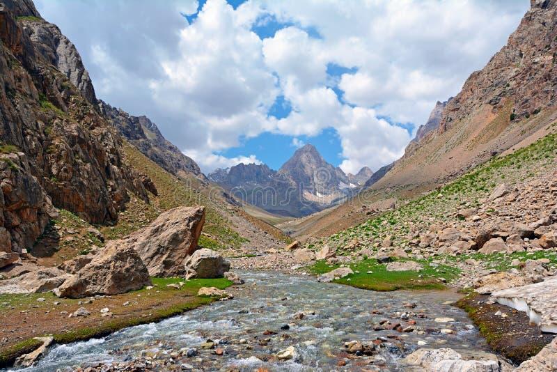 Landschaft von schnellem Gebirgsfluss mit steiniger Unterseite stockfoto