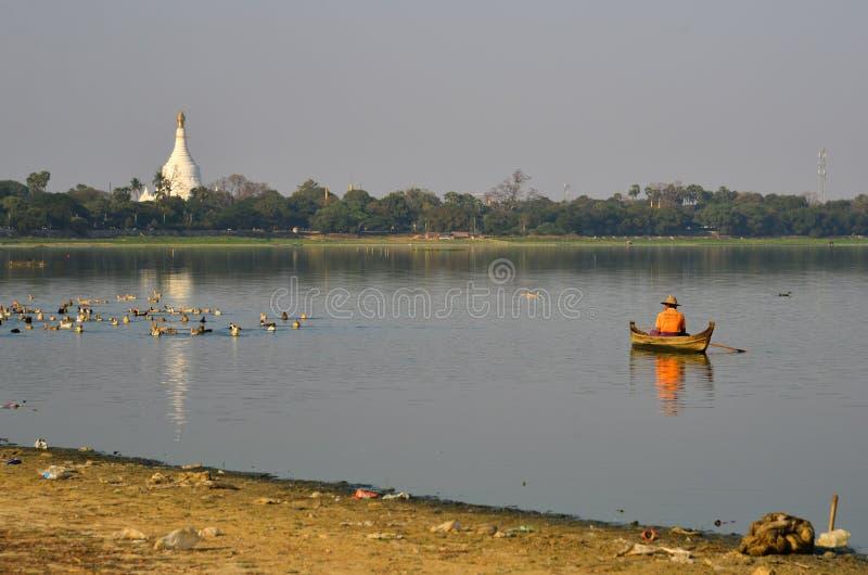 Landschaft von See Taungthaman Myanmar stockfoto
