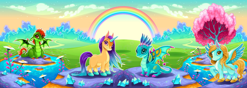 Landschaft von Träumen mit Regenbogen- und Fantasietieren stock abbildung