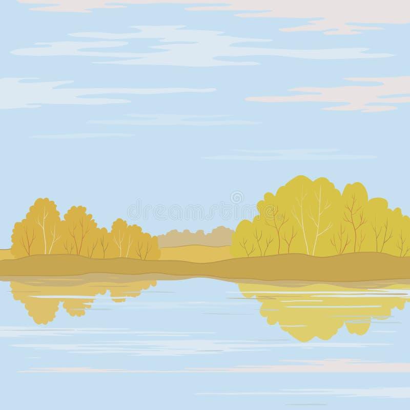 Landschaft. Waldfluß stock abbildung