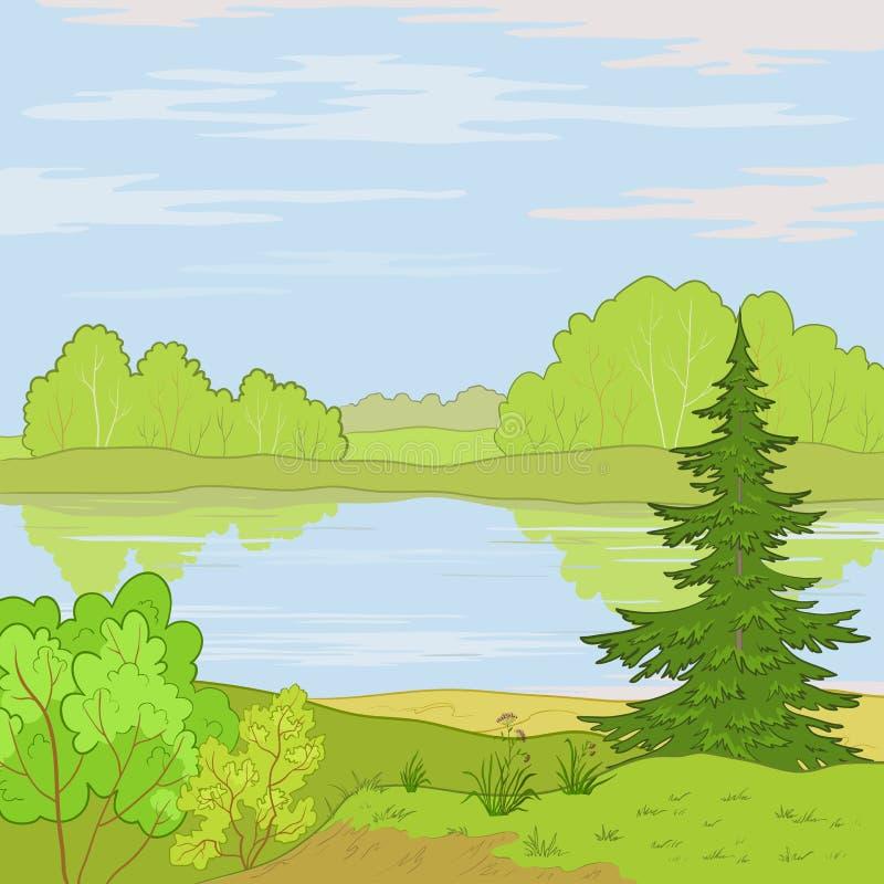 Landschaft. Waldfluß lizenzfreie abbildung