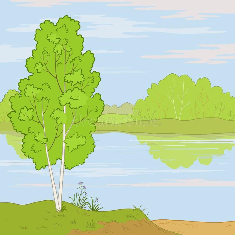 Landschaft. Waldfluß vektor abbildung