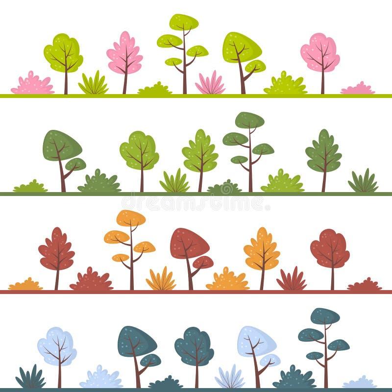 Landschaften Mit Abstrakten Bäumen Und Büschen In Den Verschiedenen ...