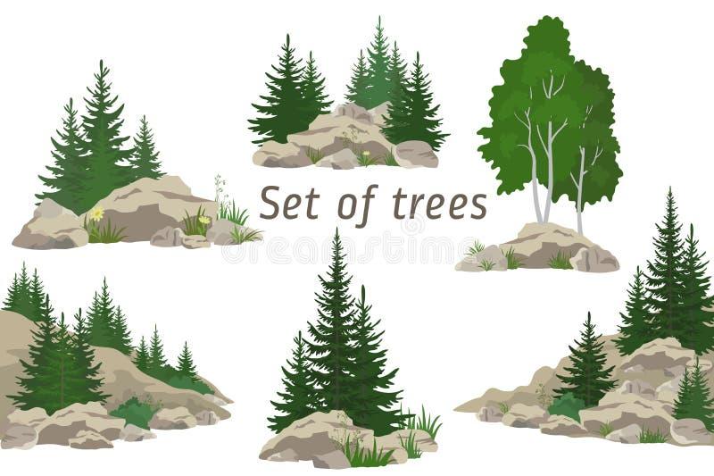 Landschaften mit Bäumen und Felsen lizenzfreie abbildung
