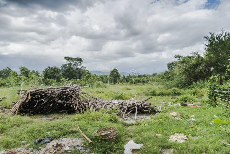 Landschaften mit Holz vorbereiteter Küche stockfotos