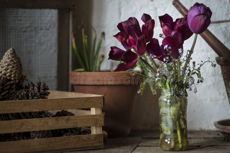 Landschafts-Garten Potting der schönen alten Weinlese verschüttete englischer herein stockfotografie