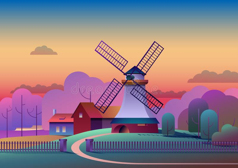 Landschaftsabendlandschaft mit Mühle und Bauernhof auf Wiese, Bäumen und Wald auf Hintergrund - flache Vektorillustration lizenzfreie abbildung