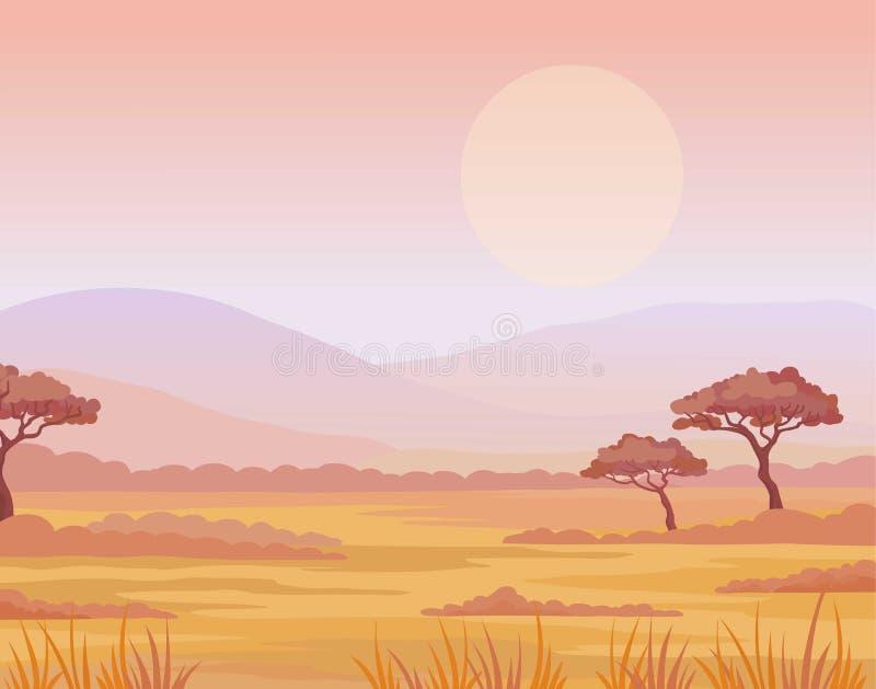 Landschaftsafrikanische Savanne Sonnenuntergang Der Platz für den Text vektor abbildung