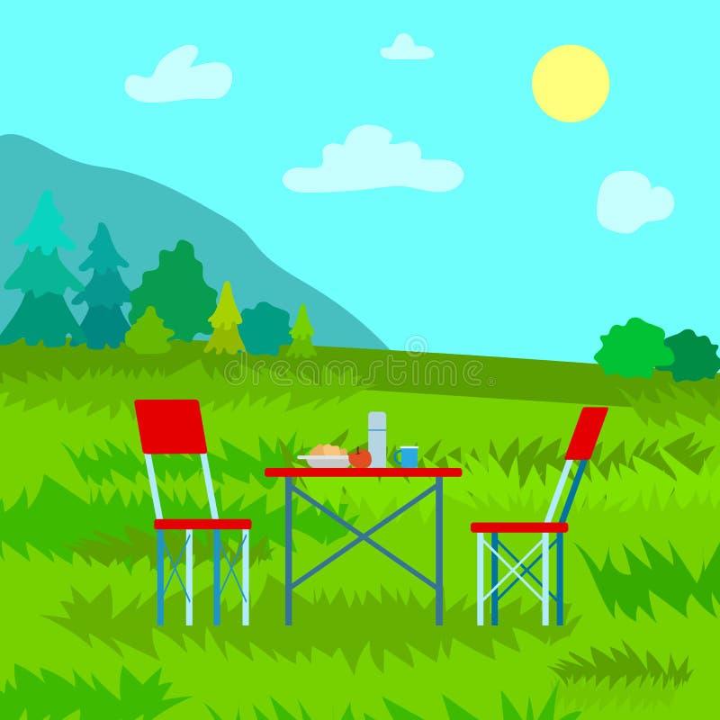 Landschaftsansicht auf die Oberseite, Dinning auf Gebirgsvektor stock abbildung