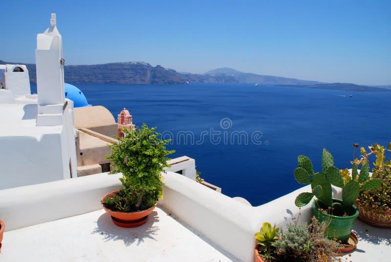 Landschaftsansicht in Santorini lizenzfreies stockfoto