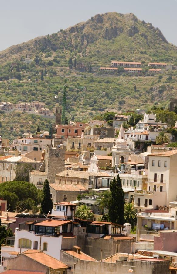 Landschaftsansicht taormina Sizilien lizenzfreie stockbilder