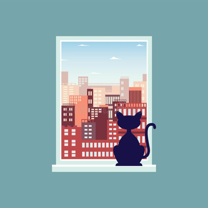 Landschaftsansicht von Stadtskylinen vom Fenster mit einer flachen Vektorillustration der Katze stock abbildung