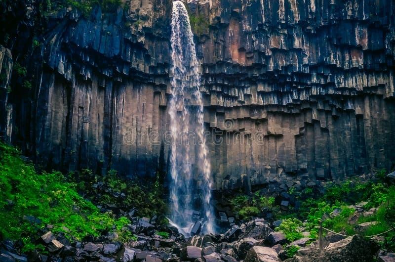 Landschaftsansicht von Wänden beautifol Svartifoss-Wasserfalls und des vulkanischen Felsens, Island lizenzfreie stockbilder