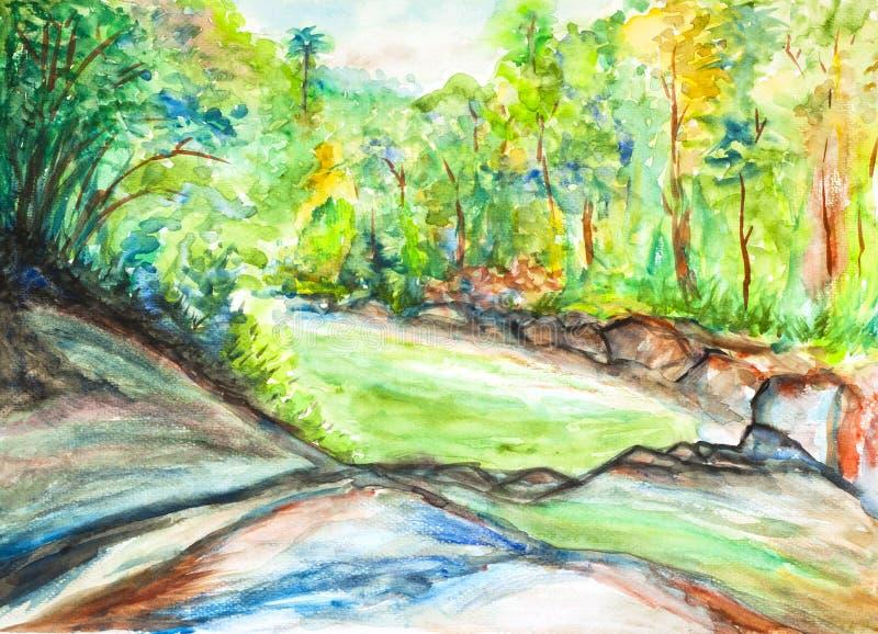 Landschaftsaquarell gemalt stock abbildung