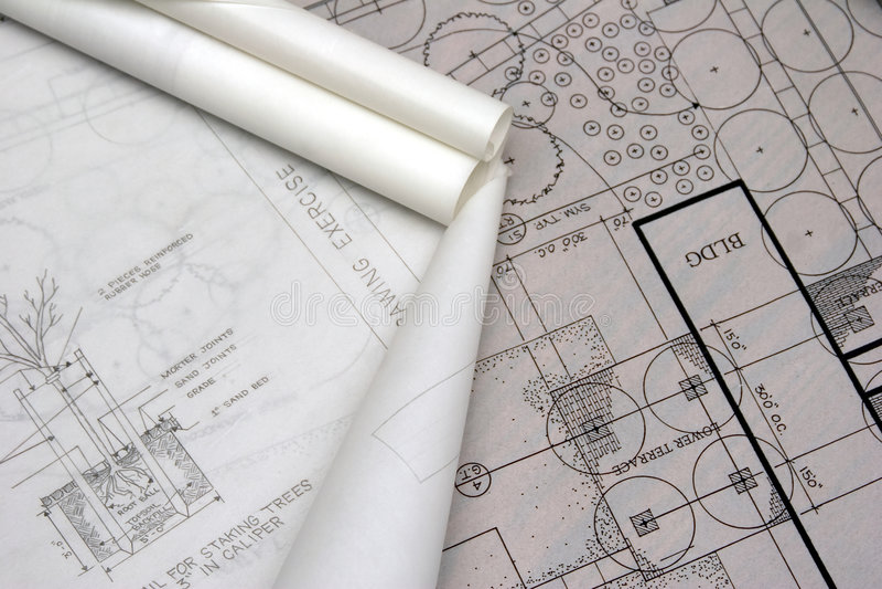 Landschaftsarchitekturzeichnungen stockfotos