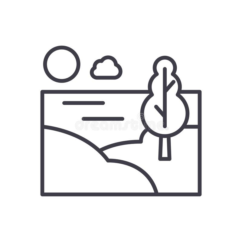Landschaftsbereichsschwarz-Ikonenkonzept Flaches Vektorsymbol des Landschaftsbereichs, Zeichen, Illustration lizenzfreie abbildung