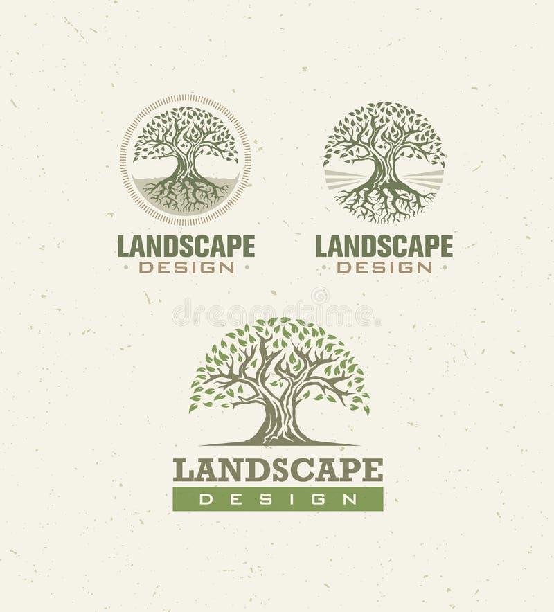Landschaftsdesign-kreatives Vektor-Konzept Baum mit Wurzeln innerhalb des Kreis-organischen Zeichens eingestellt auf Kraftpapier- lizenzfreie abbildung