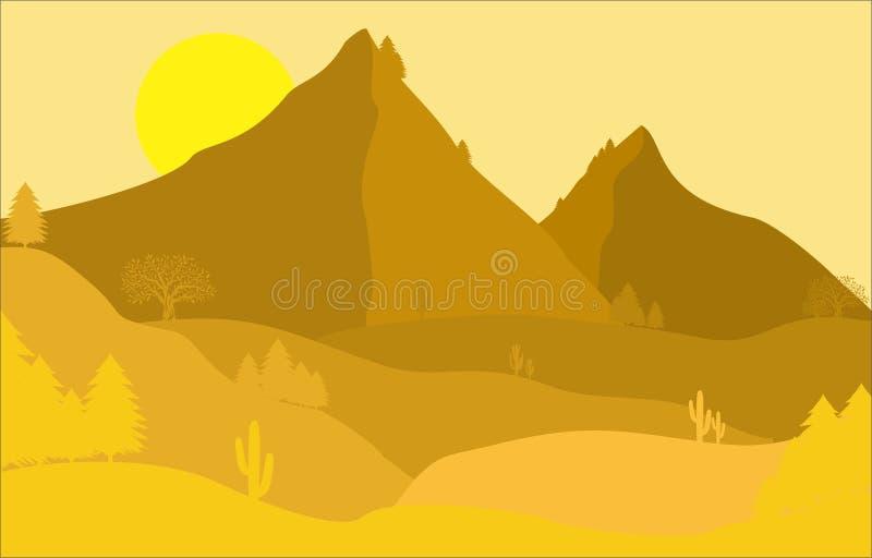 Landschaftsflacher Entwurf und Baum Hintergrund lizenzfreie abbildung