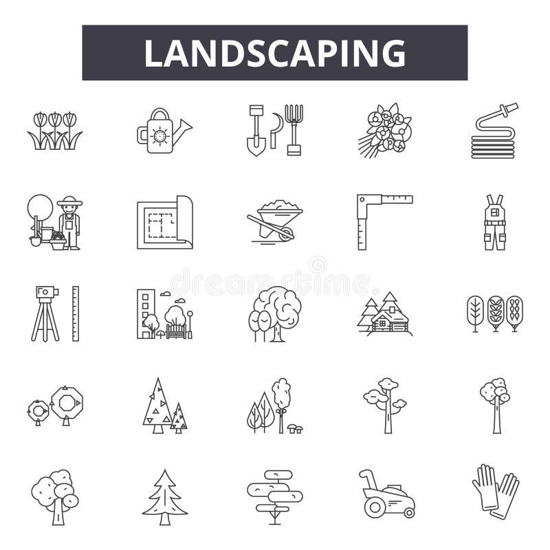 Landschaftsgestaltung der Linie Ikonen, Zeichen, Vektorsatz, Entwurfsillustrationskonzept stock abbildung