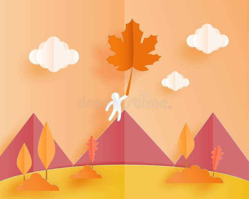 Landschaftsherbsthintergrund mit einem menschlichen Papierfall auf Fliegenahornblättern im Himmel Auch im corel abgehobenen Betra vektor abbildung
