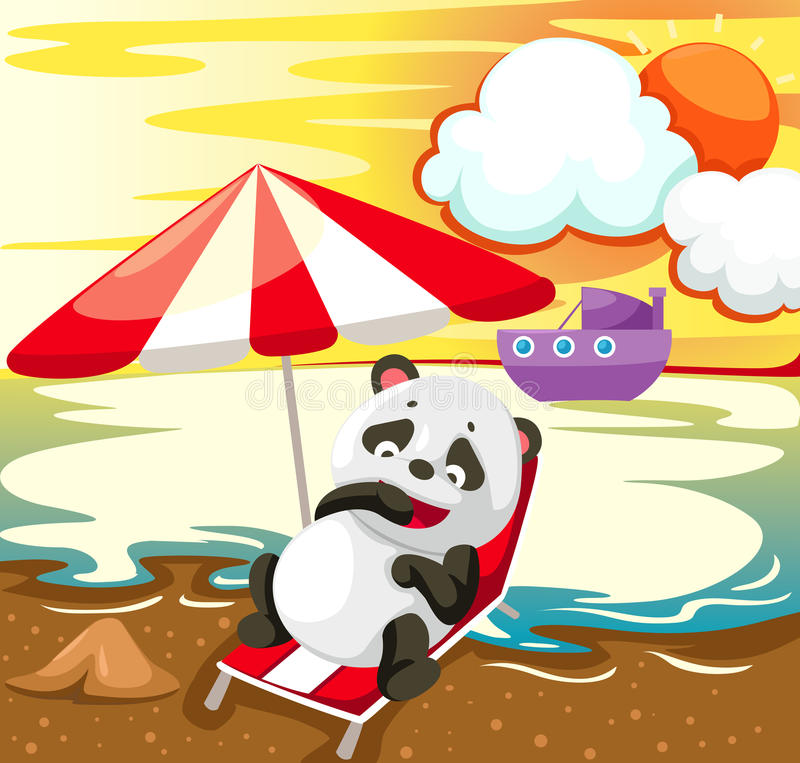 Landschaftspanda, der auf dem Strand sich entspannt stock abbildung