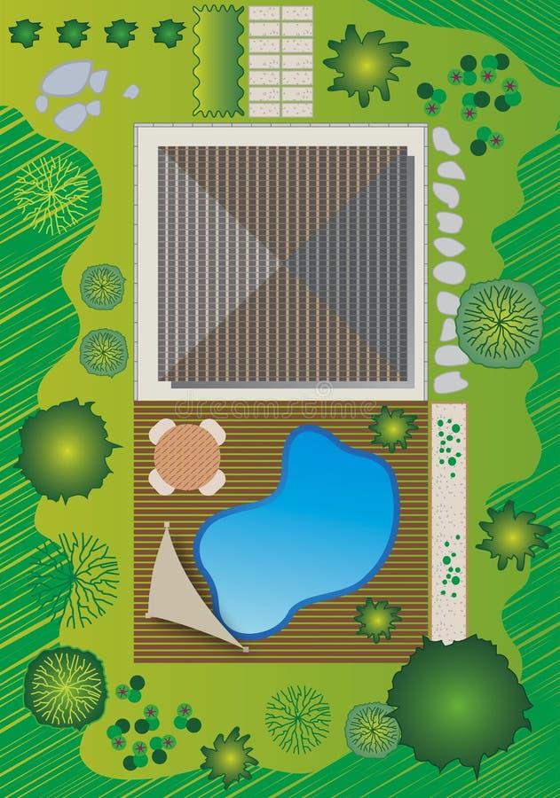 Landschaftsplan mit Haus und Pool - Garten-Auslegung vektor abbildung