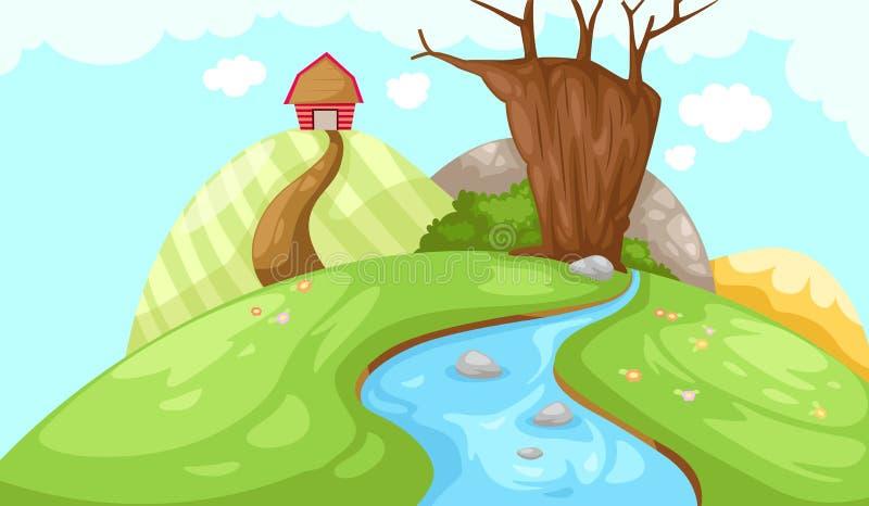 Landschaftsstall auf Berg lizenzfreie abbildung