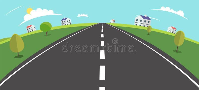 Landschaftsszene mit Straße, Bäumen und ländlicher Hauptvektorillustration Hauptstraße zu Dorf Fisheye-Ansicht Dorfszene vektor abbildung