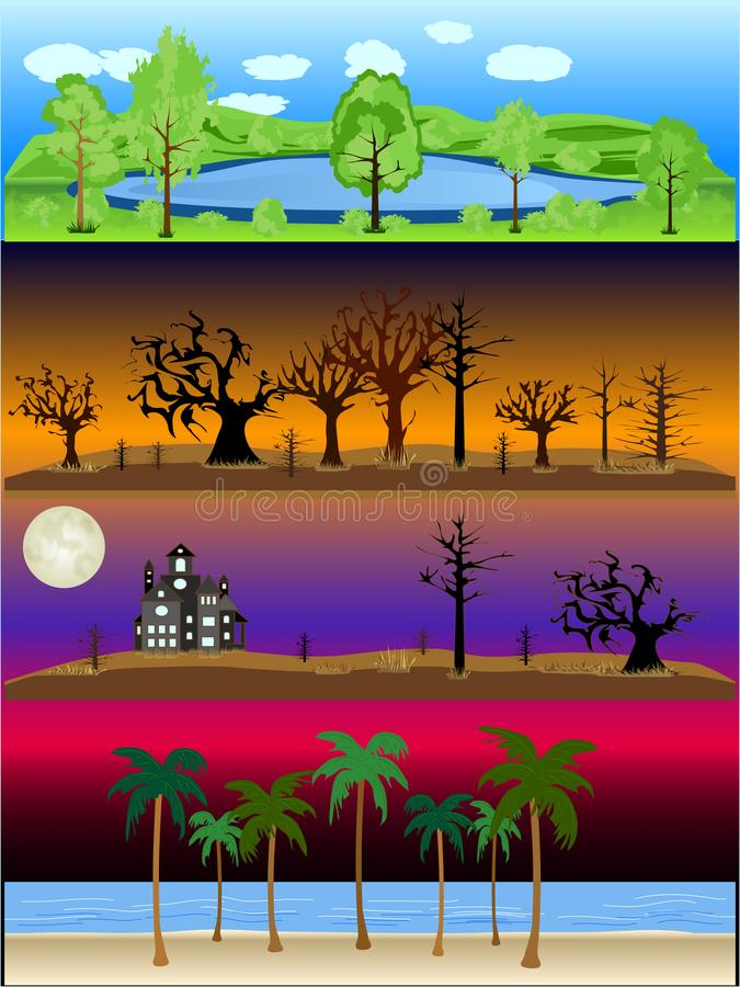 Landschaftsszenen-Vektor-Illustrations-Sammlung im Freien vektor abbildung