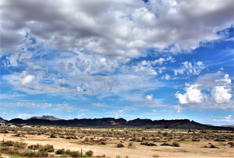 Landschaftsszenische Ansicht von Maricopa County, MESA, Arizona zu Pinal County, Florence Junction, Arizona stockfoto