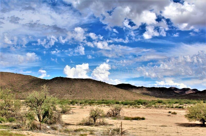 Landschaftsszenische Ansicht von Maricopa County, MESA, Arizona zu Pinal County, Florence Junction, Arizona stockfotos