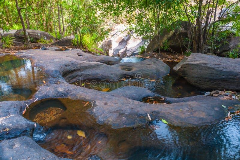 Landschaftswasserfall und Schlucht von Steinen stockbilder