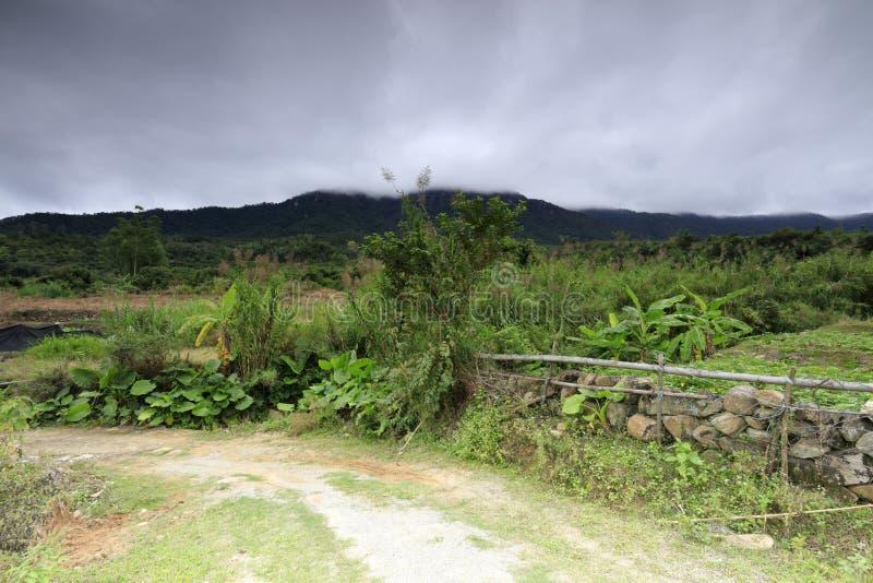 Landschaftsweg am Fuß des Berges, luftgetrockneter Ziegelstein rgb lizenzfreies stockbild