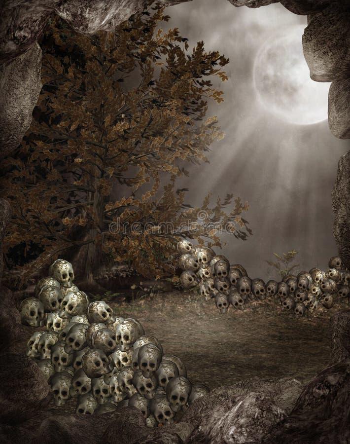 Landschap 3 van Halloween royalty-vrije illustratie