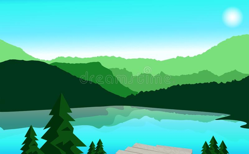 Landschap, berg en reizende vectorillustratie Berg vector illustratie
