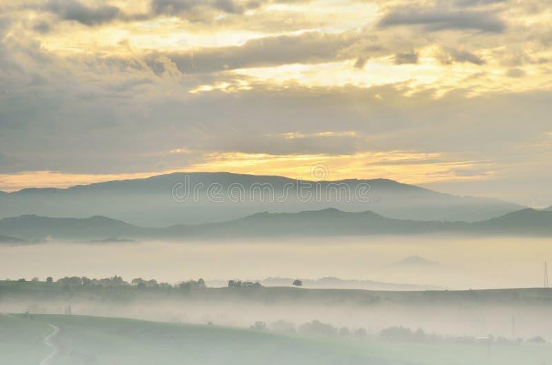 Landschap bij Zonsondergang stock foto