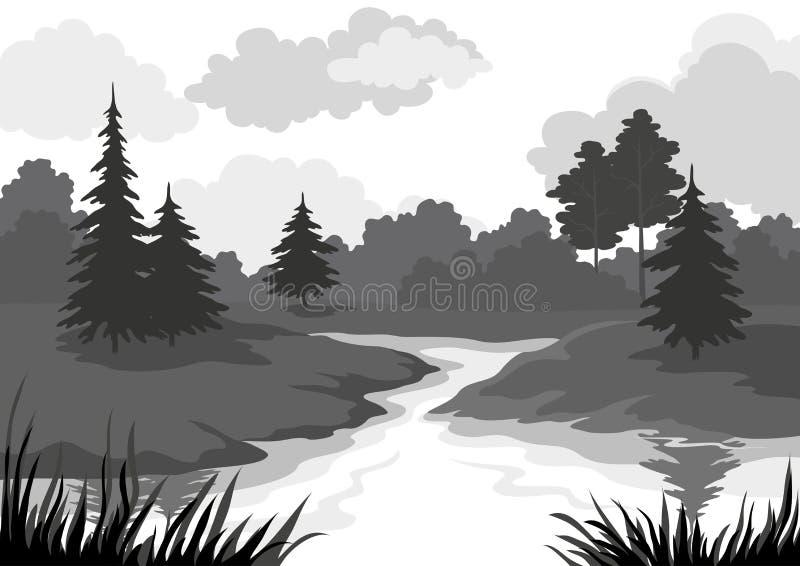 Landschap, bomen en riviersilhouet royalty-vrije illustratie