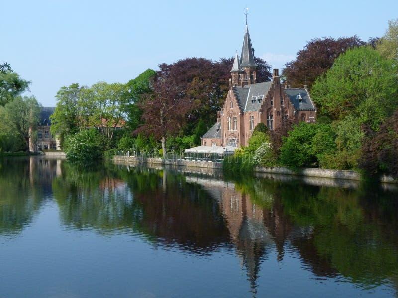 Landschap in Brugge, België stock afbeeldingen