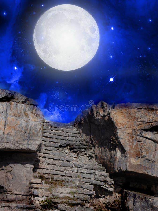 Landschap in de nacht royalty-vrije illustratie