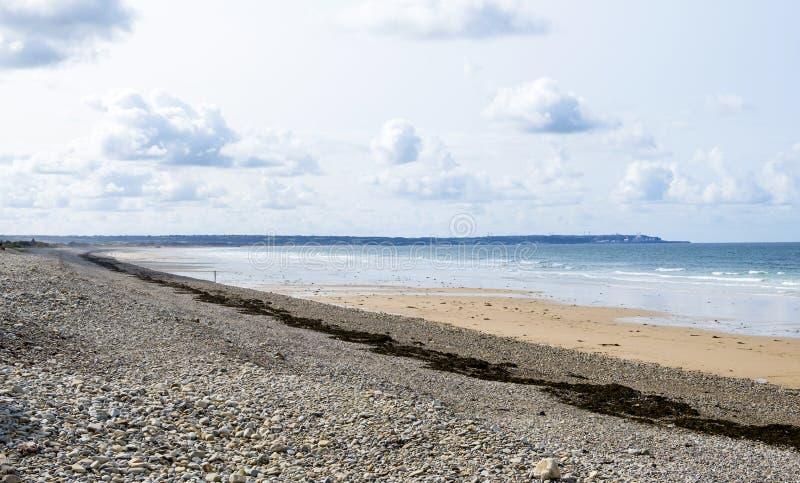 Landschap dichtbij Biville op de kust van Engels Kanaal in Normady Het Kanaal, Cotentin, La Den Haag, Frankrijk van GLB DE royalty-vrije stock afbeelding