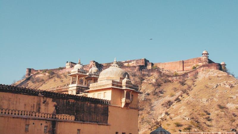 Landschap en motieven in Amer Fort in Jaipur royalty-vrije stock foto