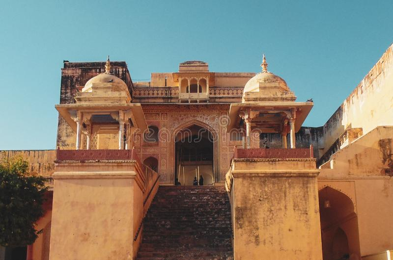 Landschap en motieven in Amer Fort in Jaipur stock fotografie