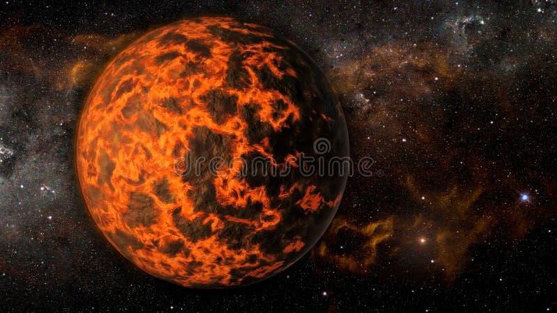 Landschap in fantasie vreemde uiterst hete exoplanet royalty-vrije illustratie