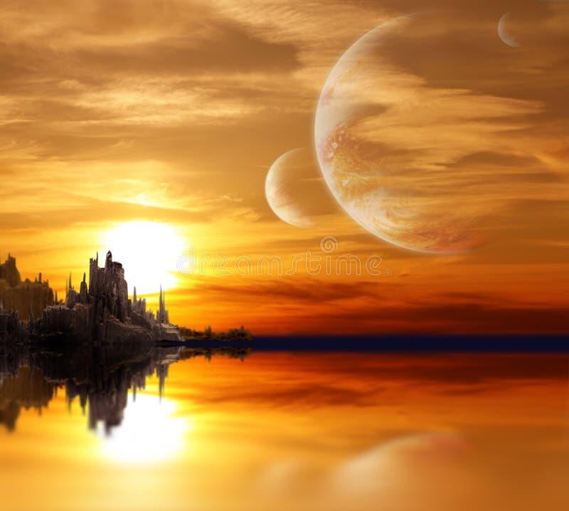 Landschap in fantasieplaneet stock afbeeldingen