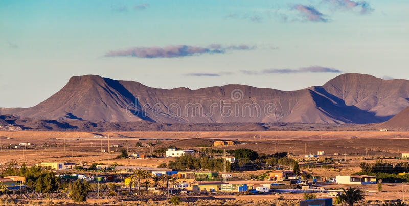 Landschap in Fuerteventura, Canarische Eilanden, Spanje royalty-vrije stock foto's