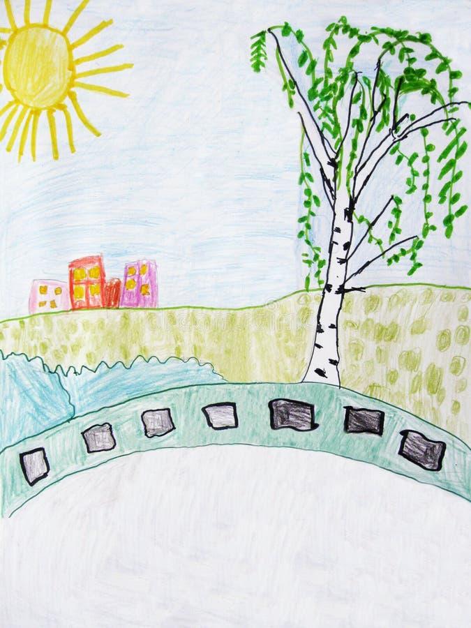 Landschap - granietplakken op een massagraf van militairen in Wereldoorlog II De tekening van kinderen stock illustratie
