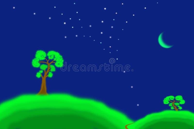 Landschap groene heuvels, bomen en de maan royalty-vrije stock fotografie