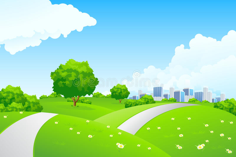 Landschap - groene heuvels met boom en cityscape vector illustratie