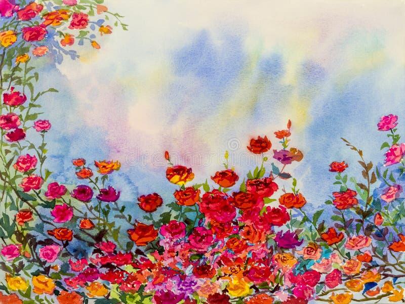 Landschap het schilderen verbeelding kleurrijk van rozenbloemen en emotie stock illustratie