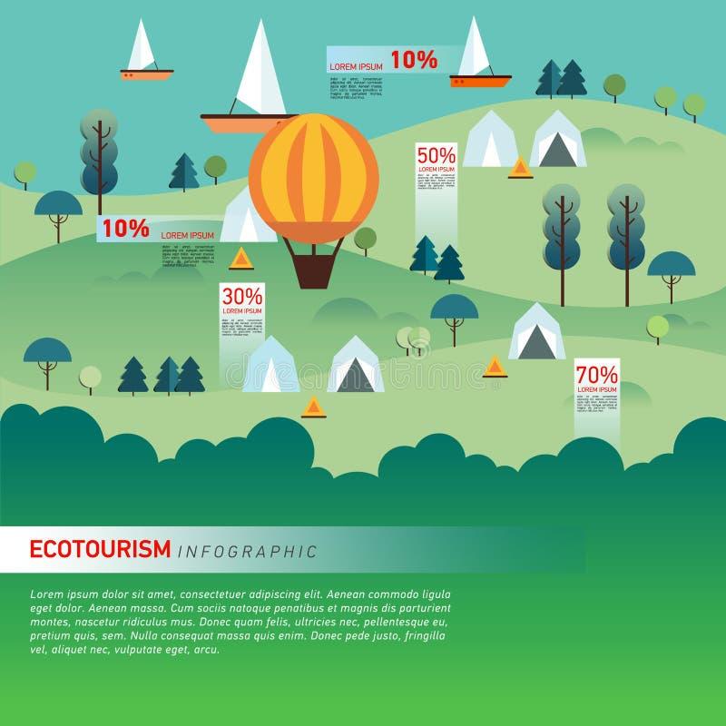 Landschap Infographics Meer en Heuvels Wandeling stock illustratie